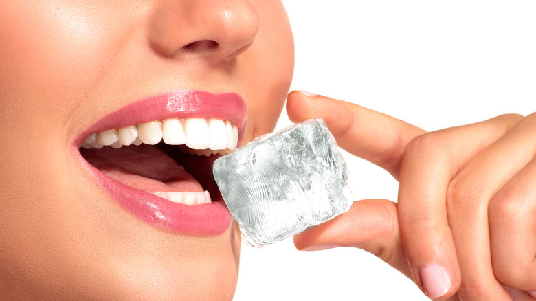 woman eating ice cube
