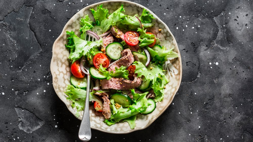 Pretty steak salad on backgrouns