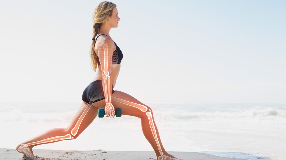 Woman Lunging With Bones Highlighted